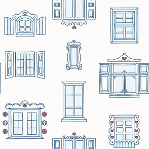 Hand Drawn Old Town Windows on White seamless pattern background.