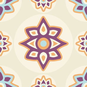 Colorful Cactus Flowers on Beige seamless pattern background.
