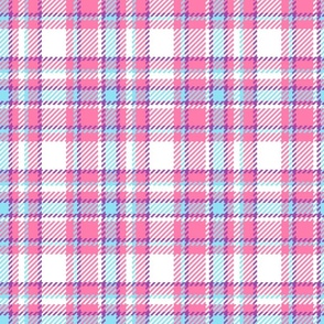 Madras Tartan pink blue summer Wallpaper Fabric