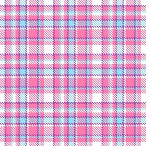 Plaid summer pink blue Tartan Wallpaper Fabric