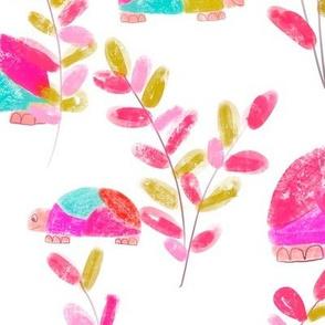 Turtles in Garden Pink L