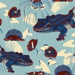 Brightly-colored  turtle and crocodile