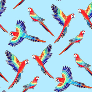 Red Macaws on Baby Blue (Large Version - Coordinate Pattern)