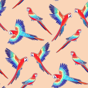 Red Macaws on Beige (Large Version - Coordinate Pattern)