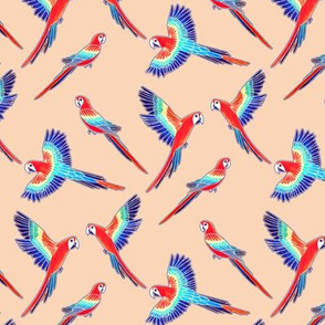 Red Macaws on Beige (Small Version - Coordinate Pattern)