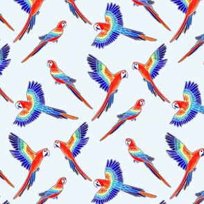 Red Macaws - on White (Small Version - Coordinate Pattern)