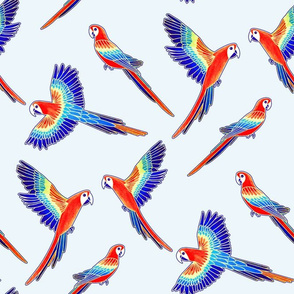 Red Macaws - on White (Large Version - Coordinate Pattern)