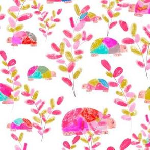 Turtles in Garden Pink M