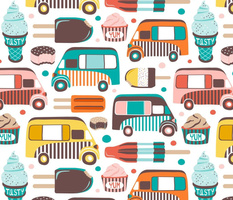 Ice Cream Man - Summer White Multi Large Scale