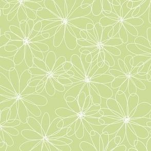 White Flowers Lemon Green M