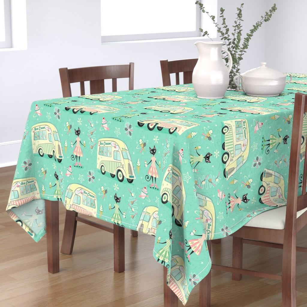 Bantam Rectangular Tablecloth featuring Vintage Ice Cream Vans by studioxtine