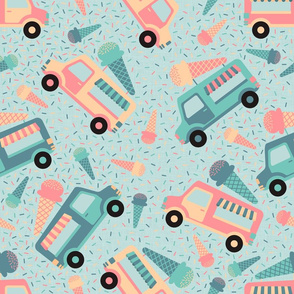 Ice cream trucks pattern