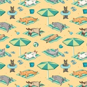 Cats at the Beach Seamless Pattern - Small