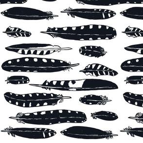 Woodpecker Feather Black /White Hortizontal