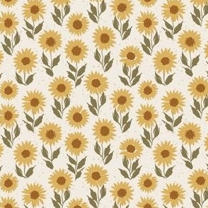 mini micro // Vintage Vibe Sunflowers in Golden Yellow and Green