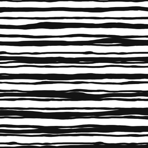 Scandi stripes rough hewn black + black on white by Su_G_©SuSchaefer_2020