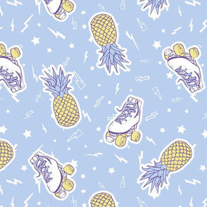 Summer Roller Skates with Pineapples on Light Blue seamless pattern background.
