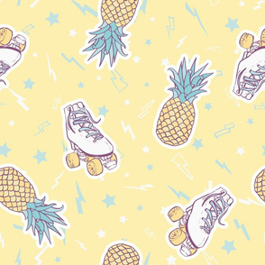Summer Roller Skates with Pineapples on Sunny Yellow seamless pattern background.