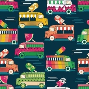 Frutalicious ice cream trucks // normal scale // navy blue background multicolored fruit popsicles
