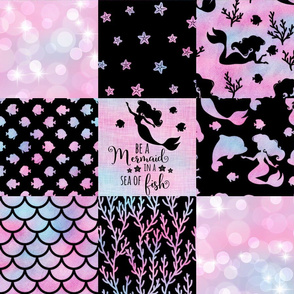 Mermaid Cheater Quilt - Magical Mermaid Patterns with Black