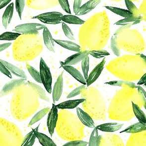 Lemon essence - watercolor citrus for summer - yellow lemons zest
