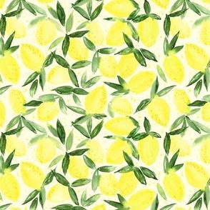 Lemon essence on cream - watercolor citrus for summer - yellow lemons zest p316