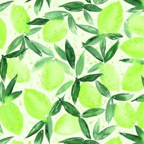 Lime essence - watercolor citrus for summer - yellow lemons zest