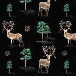 Deer with Christmas Lights Black MED