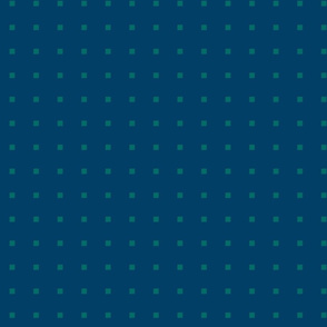 TINY SQUARES GREEN ON BLUE
