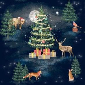 Christmas Tree Woodland Animals Navy - Midnight Mass - MED