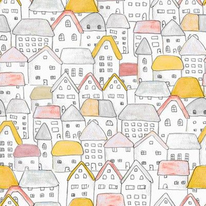Cottages Roofs Yellow Red MED