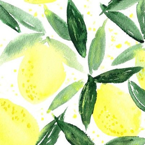 Lemon essence - large scale - watercolor citrus for summer - yellow lemons zest
