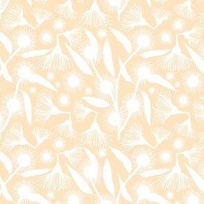 Gum Tree Blossom Pop Art - white silhouettes on creamy beige, medium