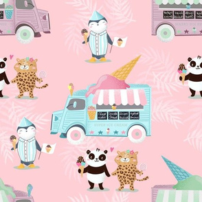 ice cream truck and panda and leo on rosa