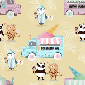 ice cream truck and panda and leopard on sand