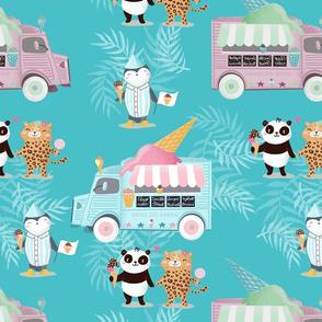 Ice cream truck on turkis