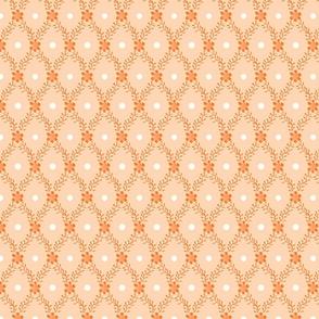1830s Mesium Flowers Sprigs Dots Peach