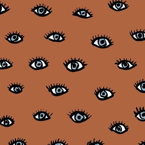 Flirt love sweet eye lashes and watchful eyes trendy modern design rust blue