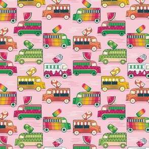 Tiny scale // Frutalicious ice cream trucks // pastel pink background multicolored fruit popsicles
