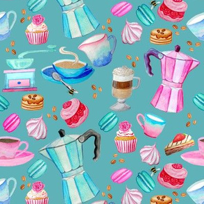 coffee and cake, pink and  teal with rose cupcakes