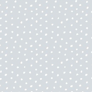Little tiny brush spots raw ink paint dots irregular boho trend nursery cool gray white snow