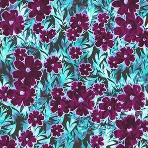 tropical floral deep magenta