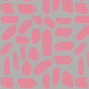 Quartz Crystal in Gray/Pink