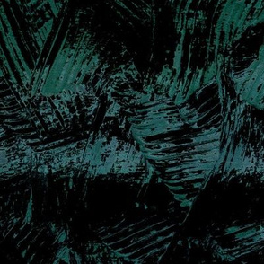 Dark Abstract Painterly Waves Blue Green
