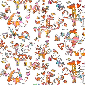 Hearts  Giraffes and Elephants on White