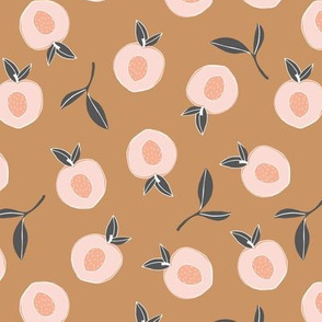 Millions of peaches sweet boho fruit garden peach and leaves baby nursery design neutral caramel coral