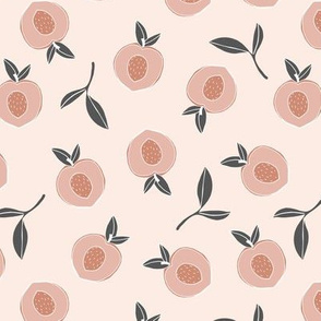 Millions of peaches sweet boho fruit garden peach and leaves baby nursery design neutral charcoal gray peach apricot pastel