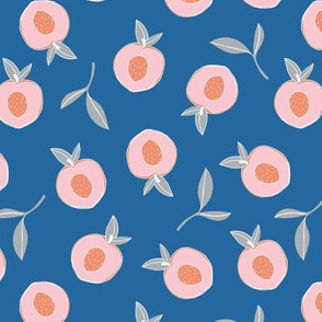 Millions of peaches sweet boho fruit garden peach and leaves baby nursery design neutral blue pink gray