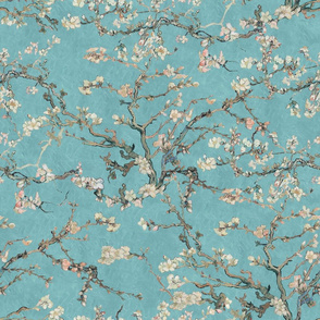 Vincent Van Gogh Almond Blossom in Robin Egg Blue Sage Green Blush Pink
