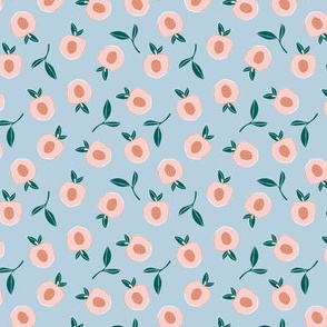 Millions of peaches sweet boho fruit garden peach and leaves baby nursery design neutral blue pink coral SMALL